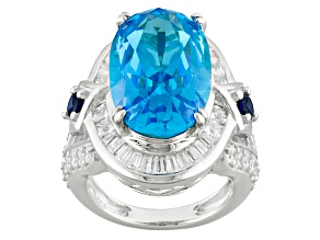 Lab Created Sapphire,Blue And White Cubic Zirconia Rhodium Over Silver Ring 18.81ctw