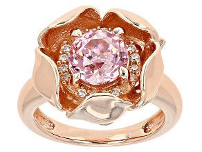 Pink And White Cubic Zirconia 18k Rg Over Silver Ring 3.81ctw