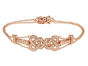 White Cubic Zirconia 18k Rose Gold Over Silver Bracelet 1.21ctw