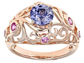 Blue Cubic Zirconia And Lab Created Ruby 18k Rose Gold Over Silver Ring 2.07ctw