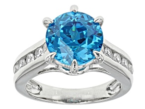 Blue And White Cubic Zirconia Silver Ring 7.39ctw