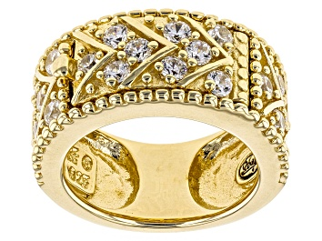 Picture of Lab Created Ruby And White Cubic Zirconia 18k Yellow Gold Over Silver Ring 1.75ctw