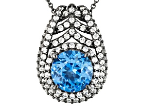 Blue Synthetic Spinel And White Cubic Zirconia Black Rhod Over Silver Pendant W/Chain 10.81ctw