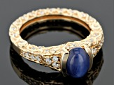 Lab Created Star Sapphire And White Cubic Zirconia 18k Yellow Gold Over Silver Ring 2.77ctw