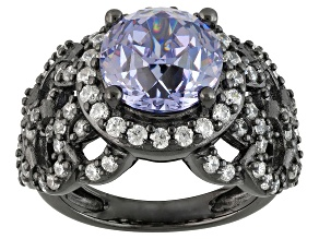 Purple And White Cubic Zirconia Black Rhodium Over Silver Ring 5.95ctw
