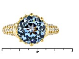 Blue Synthetic Spinel And White Cubic Zirconia 18k Yg Over Silver Ring 5.31ctw