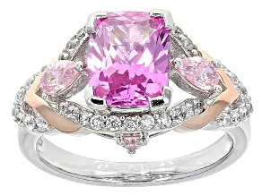 Lab Created Ruby And Pink And White Cubic Zirconia Silver Ring 3.58ctw