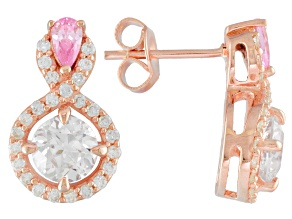 Pink And White Cubic Zirconia 18k Rg Over Silver Earrings 4.09ctw