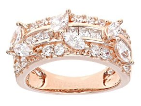 Cubic Zirconia 18k Rose Gold Over Silver Ring 3.21ctw (1.83ctw DEW)