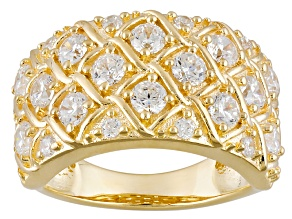 Cubic Zirconia 18k Yellow Gold Over Silver Ring 2.87ctw (1.74ctw DEW)