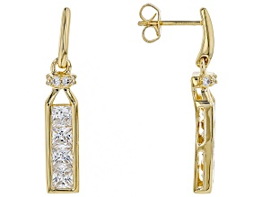 white cubic zirconia 18k yellow gold over silver earrings 3.38ctw