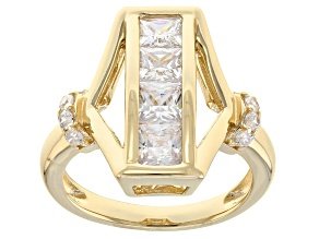 white cubic zirconia 18k yellow gold over silver ring