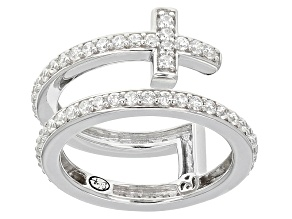 Cubic Zirconia Silver Cross Ring 1.74ctw (1.14ctw DEW)