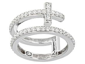 Cubic Zirconia Silver Cross Ring 1.74ctw (1.14ctw DEW)