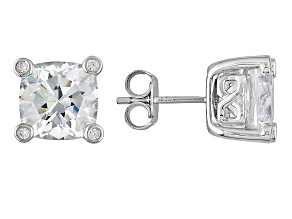 Cubic Zirconia Silver Stud Earrings 11.09ctw (4.17ctw DEW)