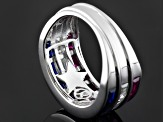 Lab Created Ruby And Sapphire And White Cubic Zirconia Silver Ring 3.16ctw