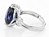 Lab Created Sapphire And White Cubic Zirconia Rhodium Over Sterling Ring 7.68ctw.