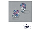 Lab Created Pink/Blue Sapphire And Purple And White Cubic Zirconia Silver Ring 9.03ctw