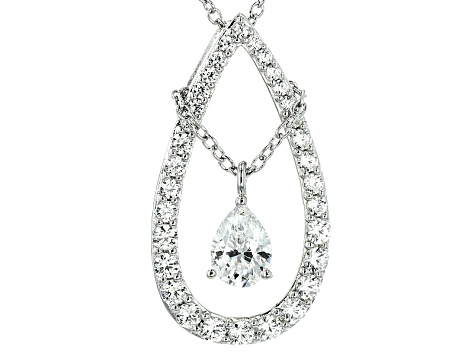 Cubic Zirconia Silver Pendant With Chain 3.70ctw (1.99ctw DEW)