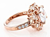 White Cubic Zirconia 18k Rose Gold Over Sterling Silver Ring 6.58ctw