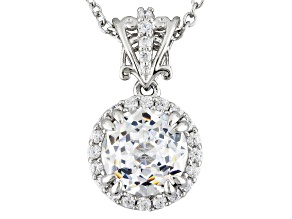 Cubic Zirconia Silver Pendant With Chain 5.22ctw (3.11ctw DEW)