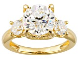 Cubic Zirconia 18k Yellow Gold Over Silver Ring 6.06ctw (3.60ctw DEW)