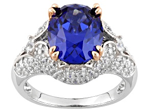 Blue And White Cubic Zirconia Silver & 18k Rose Gold Over Silver Ring 8.11ctw