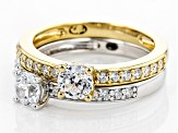 White Cubic Zirconia Rhodium Over Sterling And 18k Yellow Gold Over Sterling Rings 2.22ctw