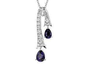 Lab Created Sapphire And White Cubic Zirconia Rhodium Over Sterling Pendant 3.69ctw