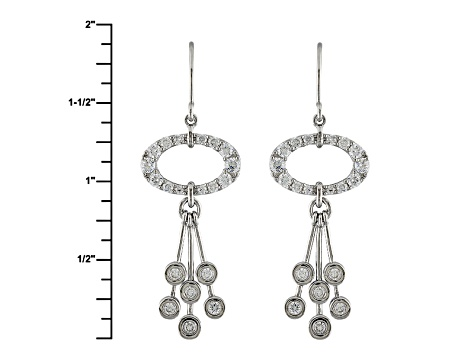 Cubic Zirconia Silver Earrings 2.41ctw (1.24ctw DEW)