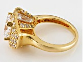 Cubic Zirconia 18k Yellow Gold Over Silver Ring 7.62ctw (4.97ctw DEW)