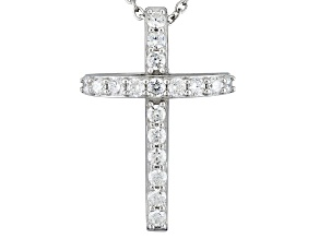 Synthetic Red Corundum And White Cubic Zirconia Silver Cross Pendant With Chain