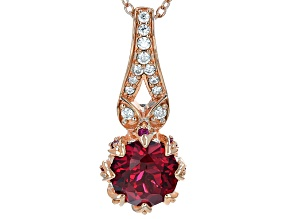 Synthetic Red Corundum And White Cubic Zirconia 18k Rose Gold Over Silver Pendant With Chain