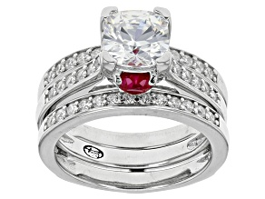 Lab Created Ruby And White Cubic Zirconia Rhodium Over Sterling Ring With Guard 3.92ctw