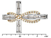 White Cubic Zirconia Rhodium & 18k Yellow Gold Over Sterling Adjustable Bracelet 2.30ctw