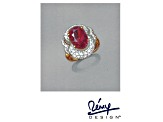 Lab Created Ruby&White Cubic Zirconia Rhodium&18k Yellow Gold Over Sterling Ring 4.22ctw