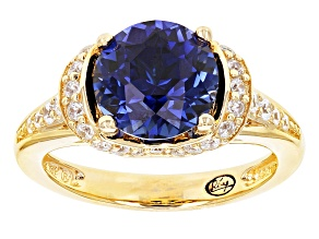Lab Created Sapphire & White Cubic Zirconia 18k Yellow Gold Over Sterling Ring 4.02ctw