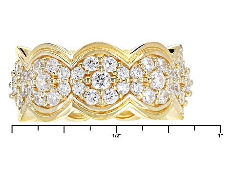 White Cubic Zirconia 18k Yellow Gold Over Sterling Silver Double Weave Ring 2.92ctw