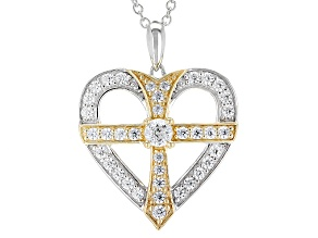 White Cubic Zirconia Rhodium & 18k Yellow Gold Over Sterling Pendant 1.74ctw