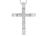 White Cubic Zirconia Rhodium Over Sterling Silver Cross Pendant With Chain 5.76ctw