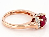 Lab Created Ruby & White Cubic Zirconia 18k Rose Gold Over Silver Ruby Collar Ring 1.68ctw