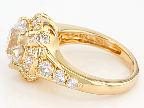 White Cubic Zirconia 18k Yellow Gold Over Sterling Silver Precious Corners Ring 8.81ctw