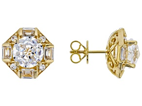 white cubic zirconia 18k yellow gold over silver earrings
