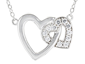 White Cubic Zirconia Rhodium Over Sterling Silver Lean On Me Heart Necklace .88ctw