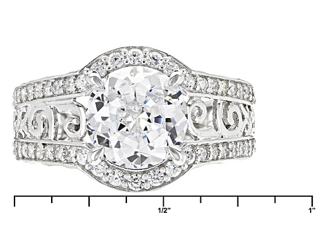 White Cubic Zirconia Rhodium Over Sterling Silver Ring 5.53ctw