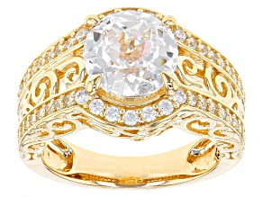 White Cubic Zirconia 18k Yellow Gold Over Sterling Silver Ring 5.53ctw