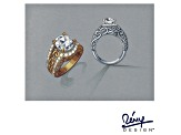 White Cubic Zirconia 18k Yellow Gold Over Sterling Silver Louvre Ring 5.53ctw