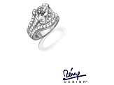 White Cubic Zirconia Rhodium Over Sterling Silver Jeweled Prongs Ring With Guard 7.80ctw