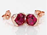 Lab Created Ruby 18k Rose Gold Over Sterling Silver Earrings 3.28ctw
