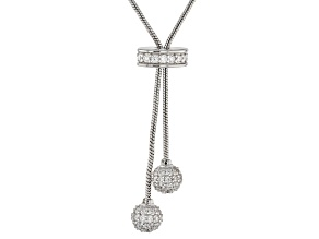 White Cubic Zirconia Rhodium Over Sterling Silver Necklace 3.84ctw